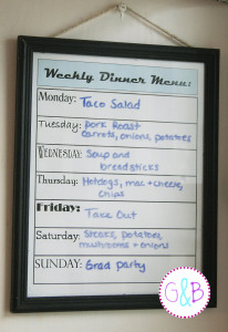 My weekly dinner menu planner, made from a Dollar Tree certificate frame.